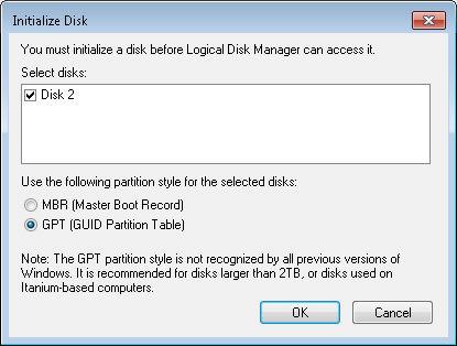 Convert an MBR disk to a GPT disk